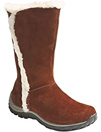 Women's Suede Leather Shearling Insulated Midcalf Brown (7)