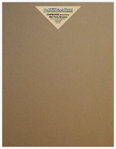 200 Sheets Brown/Gray Chipboard 60 Point Extra Thick 8'' X 10'' (8X10 Inches) Photo|Picture-Frame Size .060 Caliper Extra X Heavy Cardboard as Thick as 15 Sheets 20# Paper by ThunderBolt Paper