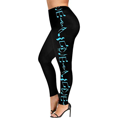 TIFENNY Stretch Elasticity Pants for Women High Waist Plus Size Yoga Sport Sweatpants Music Note Print Leggings Trousers Blue