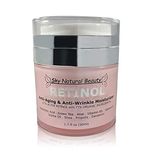 Retinol Anti-Aging & Anti-Wrinkle Moisturizer Cream for Face and Eye Area - With 2.5% Retinol, Hyaluronic Acid, Vitamin E & B5, Best Day and Night, Whole-Food, Anti-Wrinkle, Anti-Aging Cream, 1.7 Oz