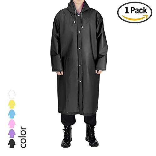 UNPAD Adult Reusable Rain Poncho, EVA Portable Raincoat with Hoods Sleeves, Size 43.3 Unisex Waterproof Rainwear