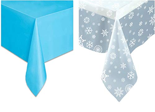 Snowflakes Plastic Tablecover Set - One Clear Tablecloth Clear Snowflakes Table Cover and One Solid Light Blue Plastic Tablecloth.]()