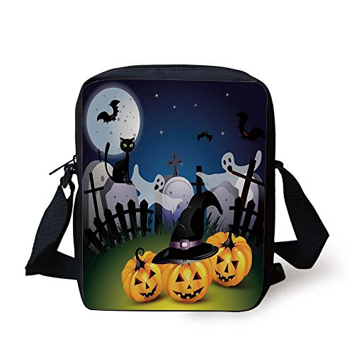 Halloween,Funny Cartoon Design with Pumpkins Witches Hat Ghosts Graveyard Full Moon Cat Decorative,Multicolor Print Kids Crossbody Messenger Bag Purse -