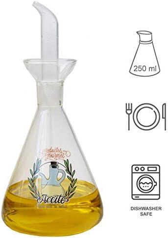 Hogar y Mas Aceitera Antigoteo Cristal Transparente 250 ml Dise/ño Pr/áctico//Ilustraci/ón para Aceite//Vinagre 9x9x22 cm