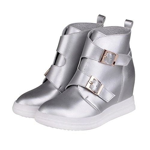 Allhqfashion Women's Pointed Closed Toe Ankle High High Heels Solid Pu Boots Silver ZVAaA4K6