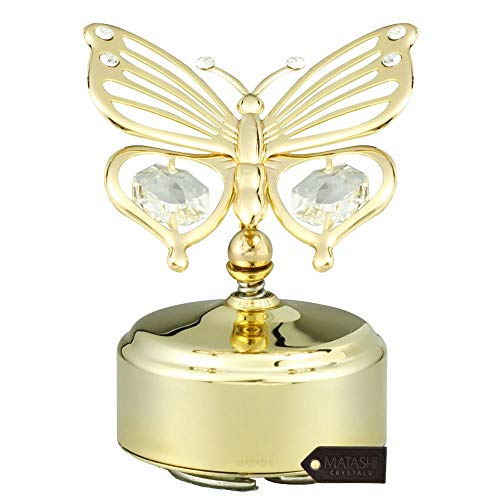 Matashi 24K Gold Plated Music Box with Crystal Studded Butterfly Figurine On A Smooth Base | Best Love Gift for Valentine's Day, Birthday, Mother's Day, Christmas, ()