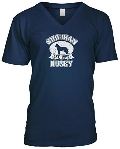 Blittzen Mens V-Neck Est 1908 Siberian Husky, S, Navy Blue (Club Siberian Kennel Husky)