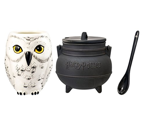 (Mozlly Value Pack - Harry Potter Hedwig Owl Shaped Ceramic Coffee Mug and Black Cauldron Ceramic Soup Mug with Spoon (3pc Set) - Novelty Character Dishware (2 Items))