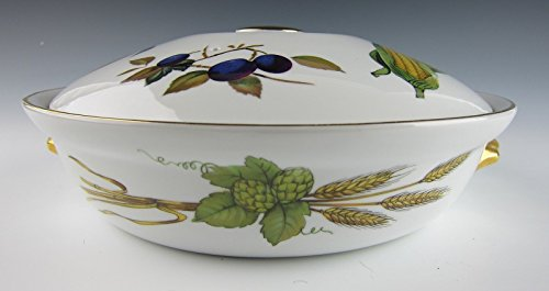 Royal Worcester Antiques (Royal Worcester China EVESHAM GOLD Round Entree Dish and Handles w/lid EXCELLENT)