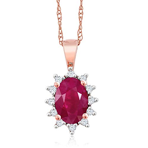 Gem Stone King 18K Rose Gold 0.68 Ct Oval Red Ruby White Diamond Pendant ()