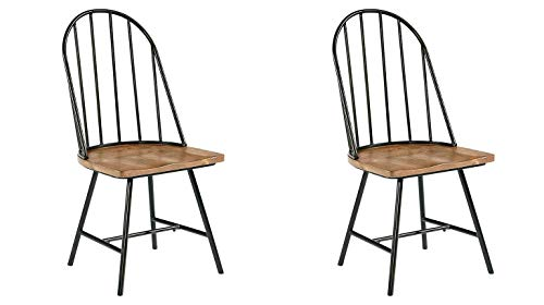 (GTU Furniture Set of 2 Mixed Media Spindle Back Dining Chairs with Saddle Seat, Set of 2, Black/Brown)
