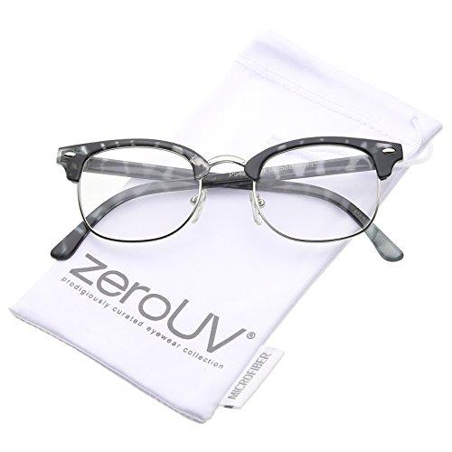 zeroUV - Retro Horn Rimmed Metal Nose Bridge Clear Lens Half Frame Eyeglasses 49mm (Grey-Tortoise-Silver / - Silver Rimmed Eyeglasses