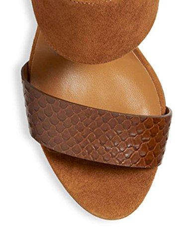 Aqua Talia Vrouwen Suzanne Open Teen Ongedwongen Suede Ankle Strap Sandalen Bruine Slang Afgedrukt / Suede