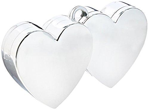 amscan Double Heart Balloon Weight | Silver | Party Decor | 12 Ct.