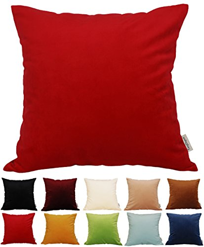 Throw Pillow Covers Fabric - TangDepot Solid Velvet Throw Pillow Cover/Euro Sham/Cushion Sham, Super Luxury Soft Pillow Cases, Many Color & Size options - (24