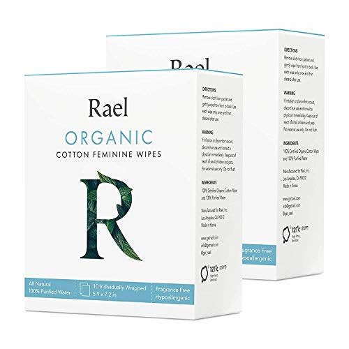 Rael Organic Cotton Feminine Wipes – Unscented, Organic Cotton, Ideal for Sensitive Skin, Individually Wrapped (2 Pack, 20 Count)