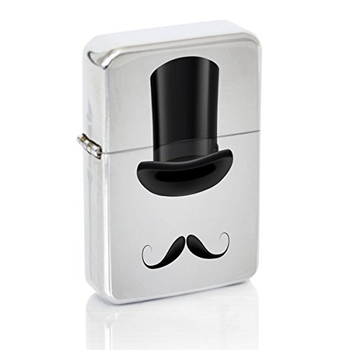 Hat Windproof Flip Top Silver Lighter (Indigo Star Top Hat)