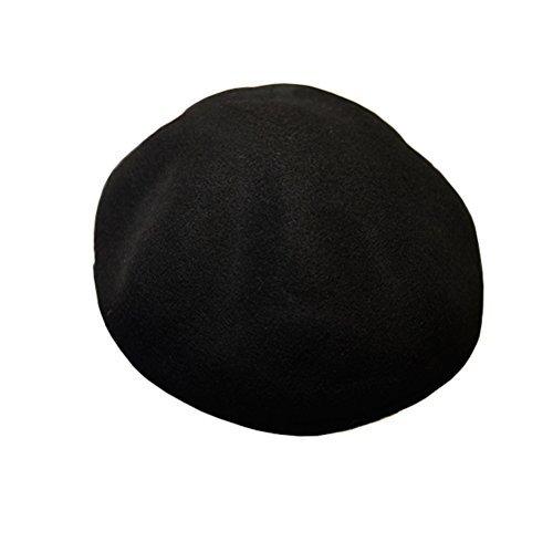 Lujuny Unisex 100% Wool Beret Hat - Classic Winter Spring French artist Painter Cap For Men Women (Black) - Fur Felt Pork Pie