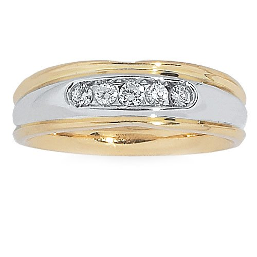 14k Two-tone 1/4ct tw Comfort-fit Wedding Band. Finger Size 9.5 ()