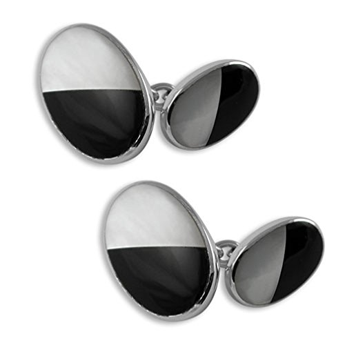 Dress Gift Shirt onyx double pearl mother of amp; silver Cufflinks Sterling Set Studs sided nFq7xvc