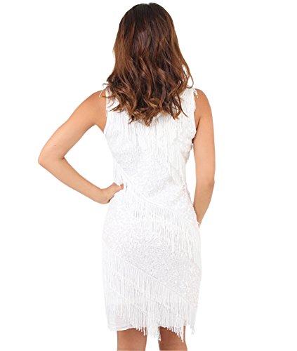 Gatsby Crme A Charleston Robe Great KRISP 6462 Femmes Moulante Costume Franges xqwf0UAH1
