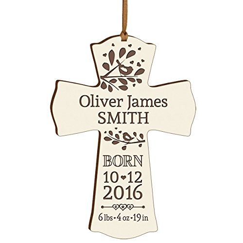 Personalized New Baby birth shower announcement gift ideas for newborn boys and girls Custom engraved wall cross ornament for new mom and dad and grandparents (Newborn Announcement)