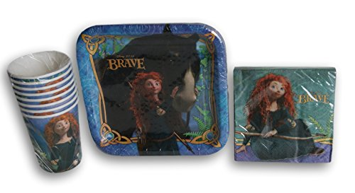 Disney Princess Brave Merida Birthday Party Set - Plates, Napkins, (7' Square Dessert Plates)