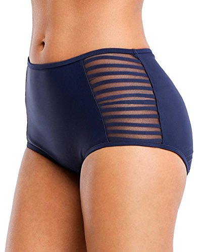 V FOR CITY Women's Tankini Bottoms Ruched Swim Bottom High Cut Tie Side Swimsuit Shorts Briefs 2XL Navy ()