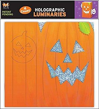 Mello Smello 4 Pack Holographic Halloween Pumpkin Luminaries -
