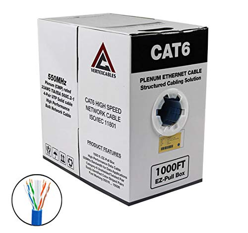 CAT6 Plenum 1000FT 550MHz 23AWG Solid Network Cable UTP - Blue Network Cable