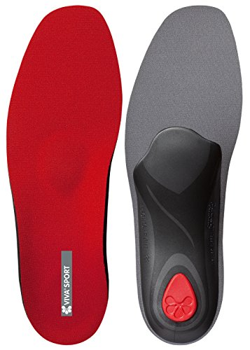 pedag VIVA SPORT Orthotic Inserts | Semi-Rigid, Full Length, Shock Absorbing Shoe Insole for Impact Sports with Metatarsal Pad, Heel Cushion - Red - US W6 / EU 36