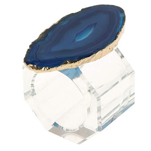Agate Enhancer - BROSCO Crystal Napkin Rings Natural Agate Decor Wedding Party Table Adornment | Color - Blue