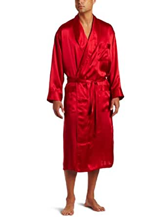 Intimo Men's Classic Silk Robe, Red, Small