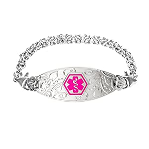 Divoti Deep Custom Laser Engraved Lovely Filigree Medical Alert Bracelet -Stainless Handmade Byzantine-Violet