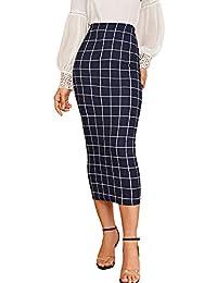 Verdusa - Falda de Cintura elástica a Cuadros para Mujer, Azul Oscuro, S