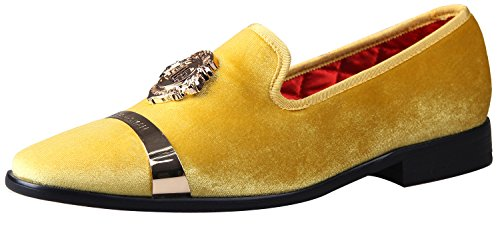 ELANROMAN Mens Dress Loafers Velvet Shoes Handmade Fashion Party Wedding Shoes Men Loafers Shoes Yellow US 7 EUR 40 Feet Lenght 275mm