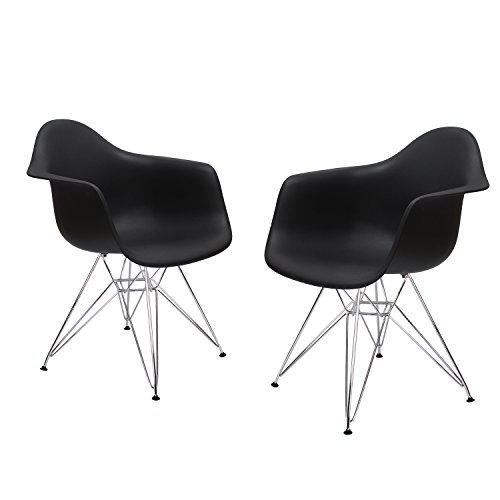 ELEGAN Armchair with Back Support Chromed Legs Eames Style Chair for Indoor Outdoor, Set of Two (Black)
