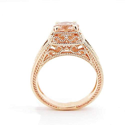 (Chuan Han Hearts and Arrows with Diamond Rings European and American Hand Ornaments, Semi-Precious Stones, Female, Sweet, Engagement, Claw Set, Plants, Cocktail Rings, Jewels, Rose Gold & Rose Go)