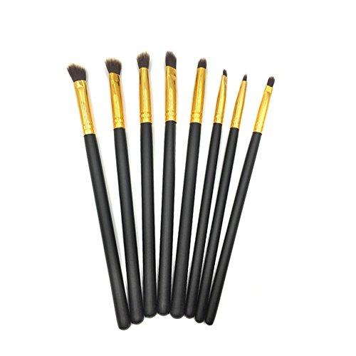Tapered Crease Defining Brush - Professional Cosmetic Makeup Eye Brush Set - Eyeshadow Eyeliner Blending Crease Kit - 8pcs Essential Makeup Brushes - Pencil, Shader, Tapered, Definer - Last Longer, Apply Better Makeup (Black Gold)