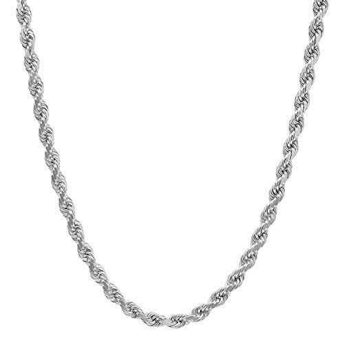 NYC Sterling Unisex Sterling Silver 3.5MM Diamond-Cut Rope Chain Necklace (18