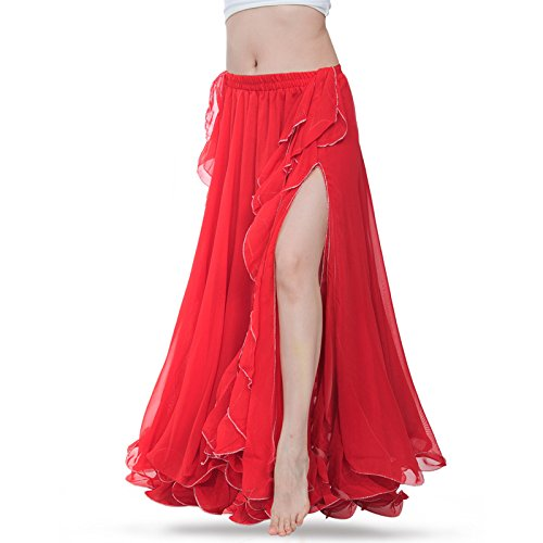 ROYAL SMEELA Women Belly Dance Skirt Belly Dance Costume Flamenco Practice Training Chiffon Maxi Skirts Dress Dancer Performance Outfit Apparel