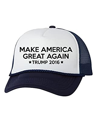 Mashed Clothing Make America Great Again - Donald Trump President 2016 Trucker Cap Hat (Navy/White)