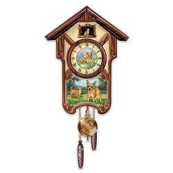 Linda Picken's Charming Chihuahuas Wooden Cuckoo Clock - By The Bradford Exchange