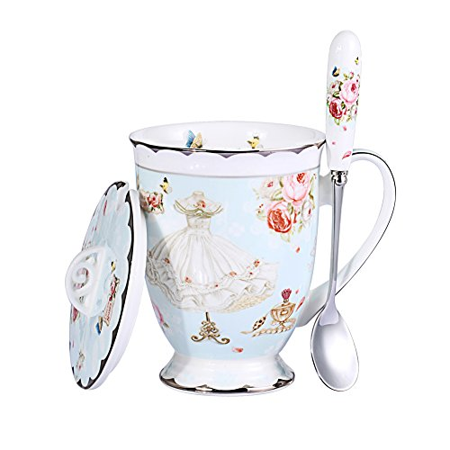 AWHOME Royal Fine Bone China Coffee Mugs Spoon and Lid Tea Cup Gift for Women Mom (Blue)