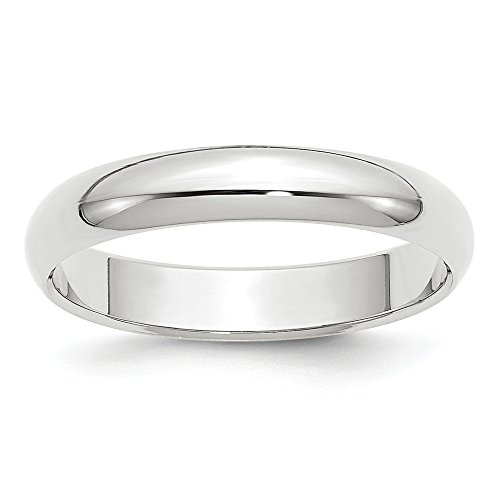 Jewelry Stores Network Solid 10k White Gold 4 mm Half Round Wedding Band Ring