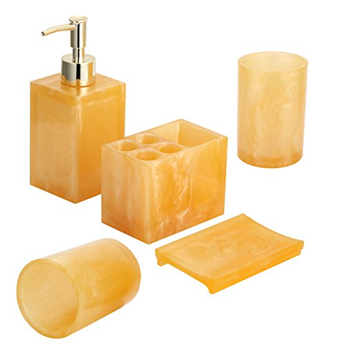 Hotab 5pcs Durable Resin Bathroom Accessory Sets Bath Ensemble Include Soap Dispenser, Soap Dish, Toothpaste and Toothbrush holder, and 2pcs Tumbler (Amber ()