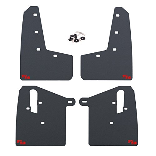 RokBlokz Mud Flaps for 2015+ Subaru WRX STI - Multiple Colors Available - Includes All Mounting Hardware (Black with Red Logo, Original)