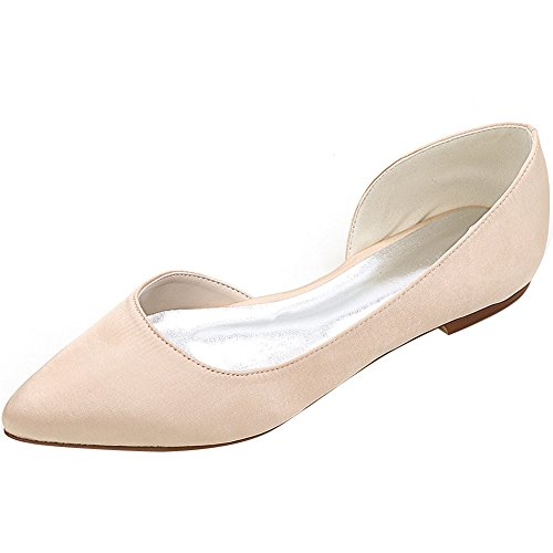Loslandifen Donna Elegante Paillettes Scarpe Da Biliardo Scarpe Da Sposa Balletto Scarpe Da Sposa In Raso Champagne