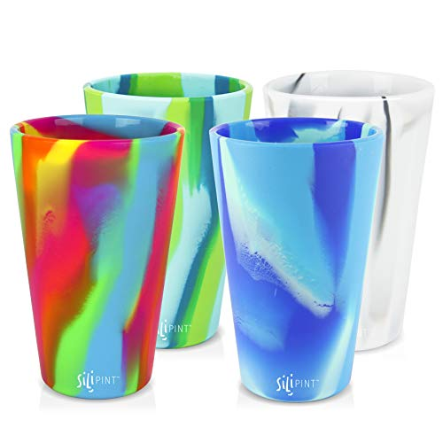 Silipint Silicone Pint Glass Set, Patented, BPA-Free, Shatter-proof, Unbreakable Silicone Cup Drinkware (4-Pack, Tie-Dye Variety) (Wine Tie Glasses Dye)