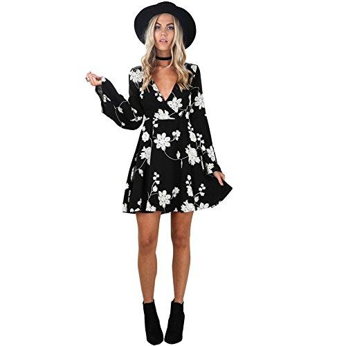 Kinikiss Women's Floral Printed Black Long Sleeve V neck Party Wrap Skater Mini Dress, Black, X-Large